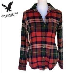 American Eagle Boyfriend Flannel Button down  XS